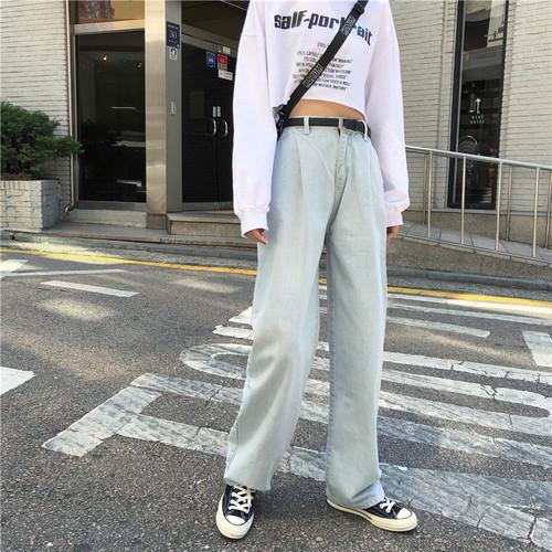 【送料無料】 ハイウエストで脚長効果♡ デニム カジュアルパンツ ストレートパンツ
