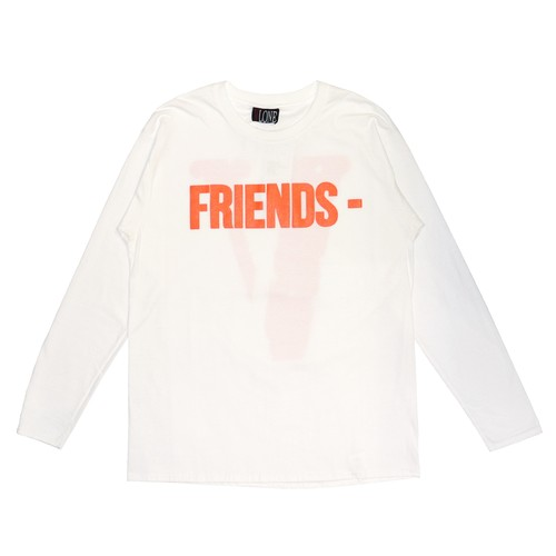 VLONE FRIENDS- L/S T-Shirts WHITE × ORANGE
