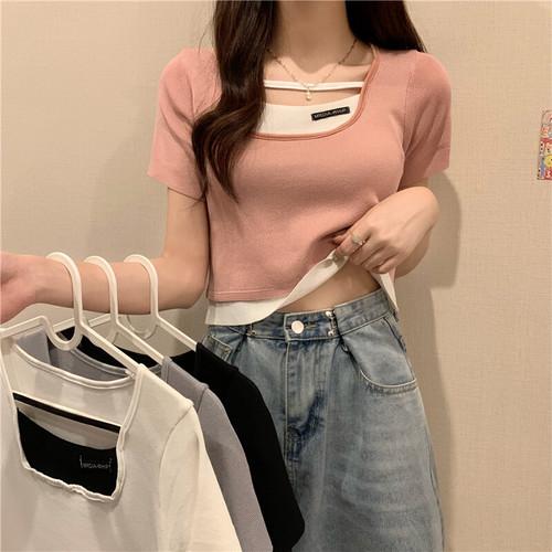 タイト 夏 オシャレ スクエアネック 半袖 重ね風 カラーブロック 激安 Tシャツ・トップス