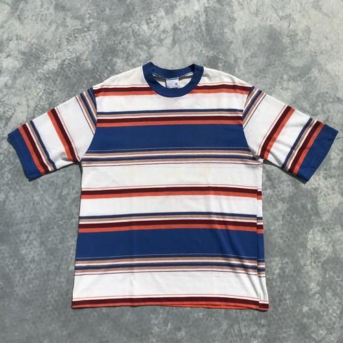 60's JCPenny マルチボーダーTシャツ ストアブランド シミ有 シングルステッチ M 希少 ヴィンテージ