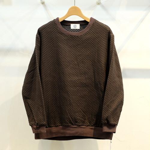 KUON(クオン) 二重十字刺し子織 プルオーバー 泥茶色