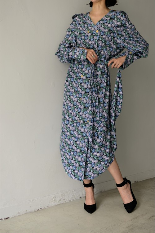 STAIR / 3WAY TULIPS PRINT LONG SHIRT