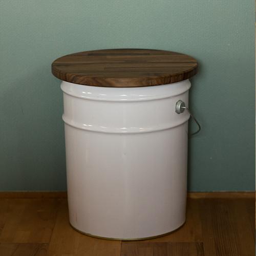 ペール缶用 折りたためるふた (ウォールナット・円形) ※ペール缶は付いていません。
