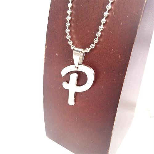 P アルファベット ボールチェーン チョーカー ネックレス 銀 シルバー SILVER 1913