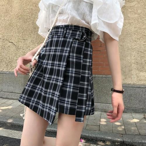 チェック柄ハイウエストAラインスカート