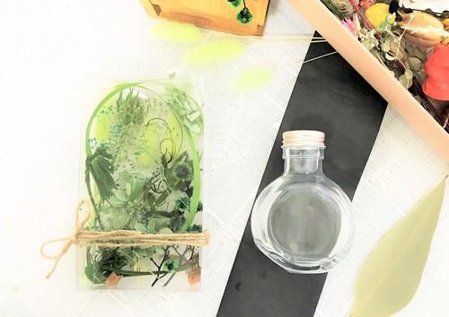 ハーバリウム手作りキット【green】(オイル・フラスコ型ボトル付属)