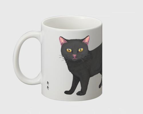 「黒猫」 マグカップ 白色