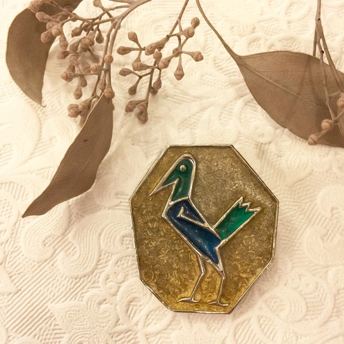70's Vintage Enameled Inlaid Bird Motif Brooch [BV-14]