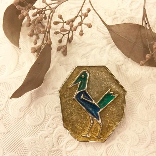 70's Vintage Enameled Inlaid Bird Motif Brooch [BV-14]