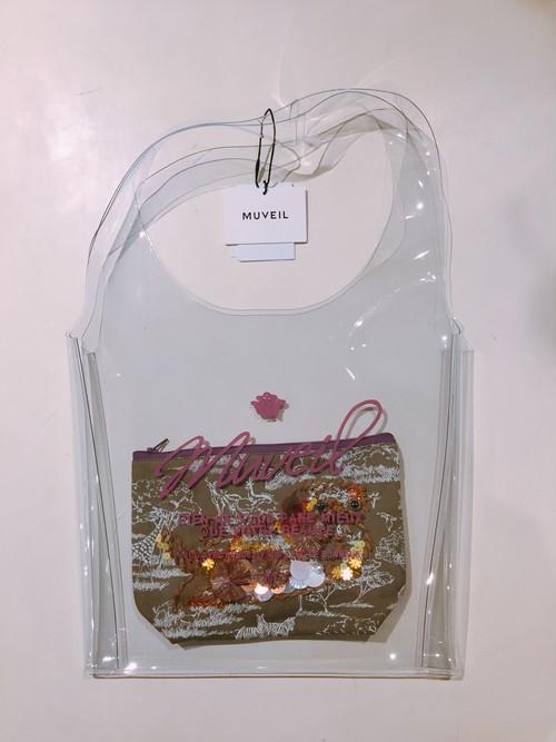 MUVEIL ビニールバッグ+刺繍入りポーチ (khaki)