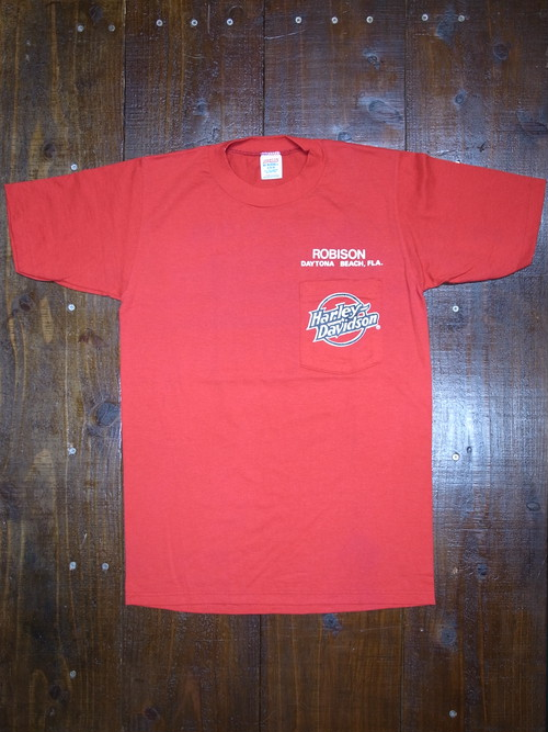 80's JERZEES Harley-Davidson 胸ポケ付き ROBISON T-Shirts(赤)DEAD STOCK ⑪