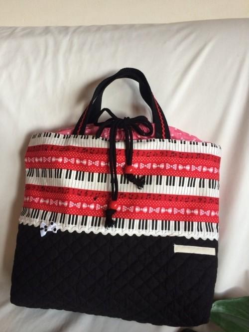 入園入学体操着お着替え袋内袋巾着58ピアノ鍵盤リボン