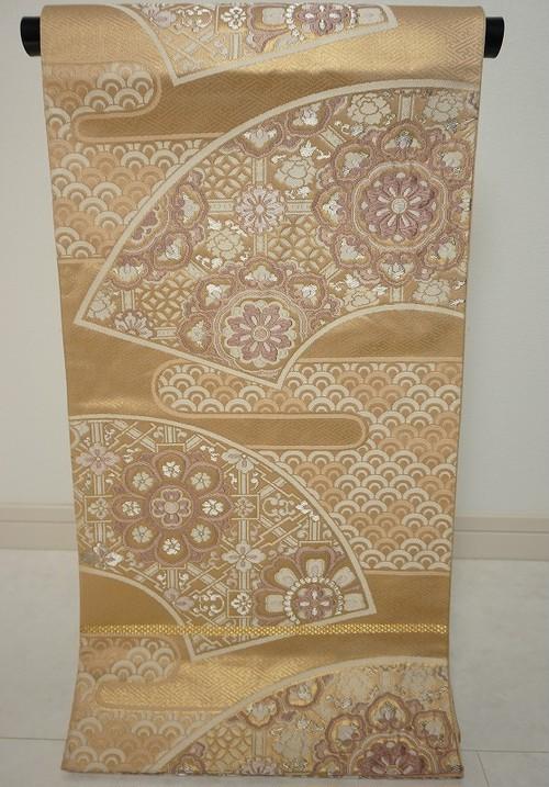 扇面正倉院華文 刺繍 袋帯 金銀糸 ベージュ 紫 121