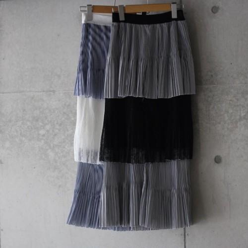 ティアード ストライプ レース スカート(2カラー)