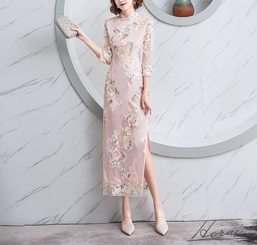 チャイナドレス 花柄 サイドスリット 上品 きれいめ ペンシルライン 七分袖 袖あり ドレス 結婚式 お呼ばれ パーティードレス ワンピース