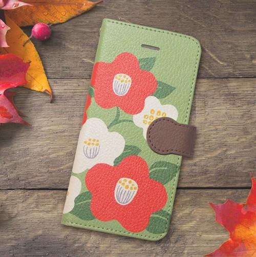 【S/Msize】和な雰囲気の椿の手帳型スマホケース #iPhoneX対応