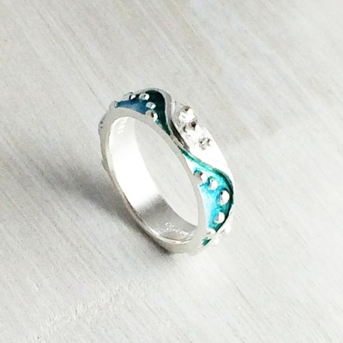色の波 Silver Ring_blue green