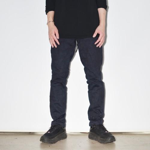 "Leather×Heavy Jersey ""Straight""Pants 〈Indigo Black Blue〉"