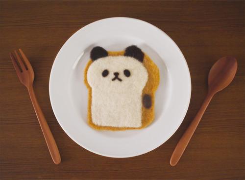 ほっこり羊毛コースター 食パンダ