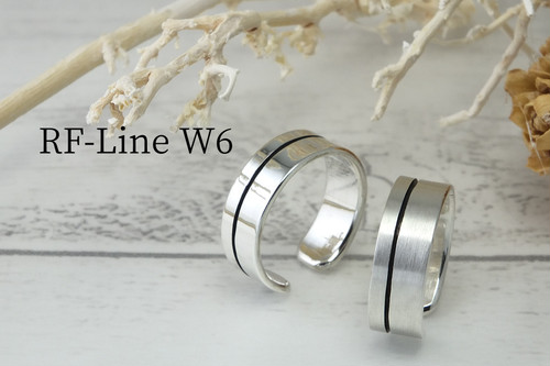 RF-LineW6 フリーサイズ 平打溝リング6mm<鏡面、ツヤ消し選択可>