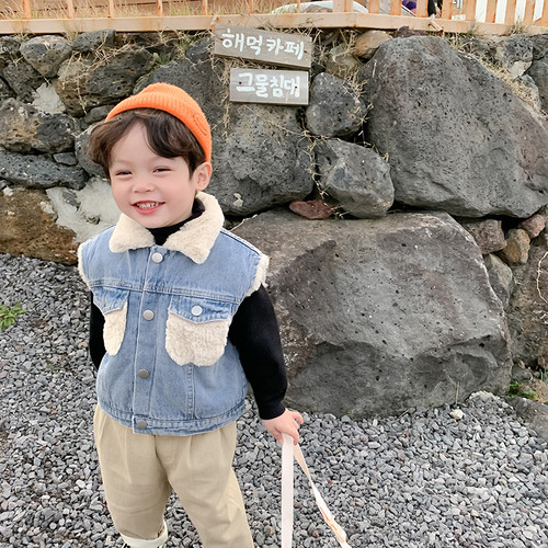 【予約】ボーイズエコファードッキングデニムベスト