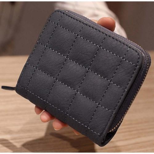 【キュートなキルティング加工★】キルティングミニウォレット ラウンドファスナー 二つ折りコンパクト財布 ダークグレー レディース