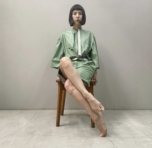 New!! Eco leather Tie neck blouse & Mini dress /Mint (2021 New collection)