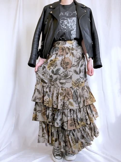 vintage flower tiered skirt