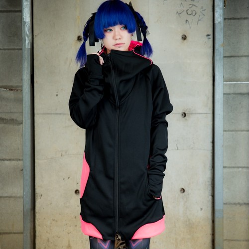 D/3α  『ハイエンドパーカー』 黒×蛍光ピンク