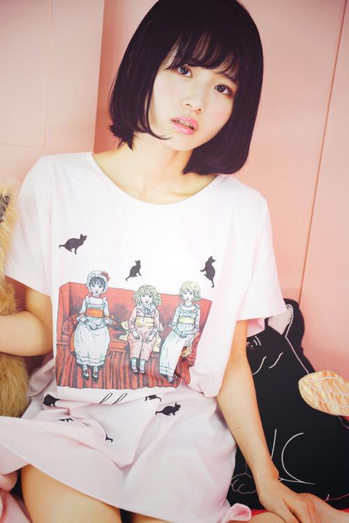 ラブームオリジナルTシャツワンピース(ゴシックレトロな女の子三人)