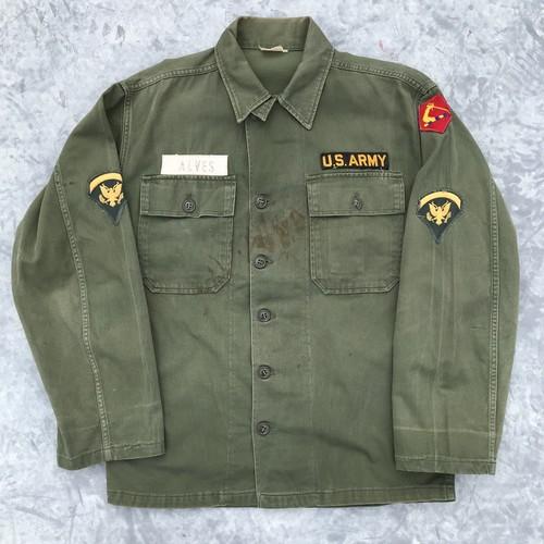 60's U.S.ARMY OG107 サテンシャツ 筒袖1st後期 ユーティリティーシャツ ミリタリー ヴィンテージ