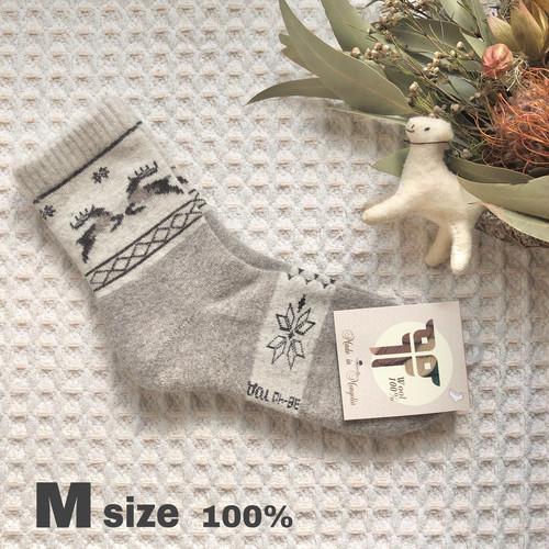 トナカイ柄(M)ウール100%★モンゴル靴下 防寒