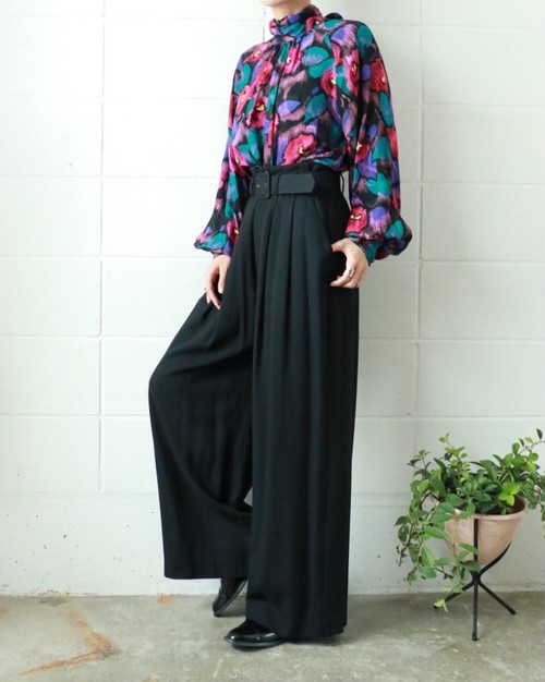 black high waist belted wide pants
