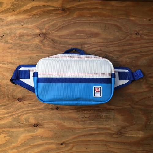 ウエストバッグ バイカラー 白×青×青