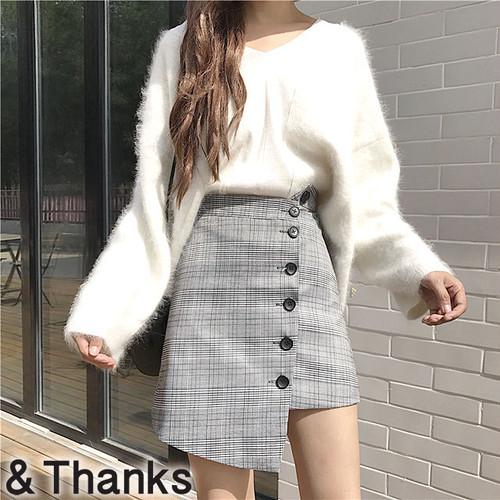 もてかわ グレンチェックラップスカート 1カラー 2サイズ