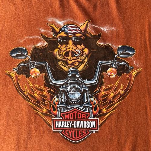 2008年製 ハーレーダビッドソン Tシャツ オレンジ 茶 XLサイズ イノシシ