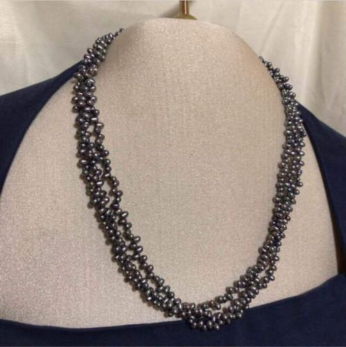 【黒真珠】本真珠 天然 パール ネックレス 本物 三連 留め具 シルバー