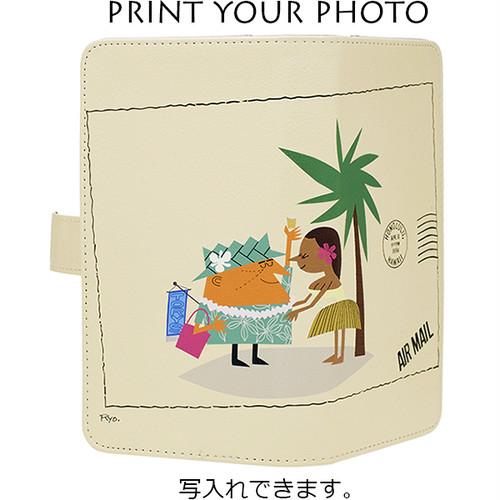 柳原良平 Ryo.WORKS WLL ハワイで乾杯! オリジナル写真プリント対応 アロハアンクル&フラガール 手帳型スマホケース