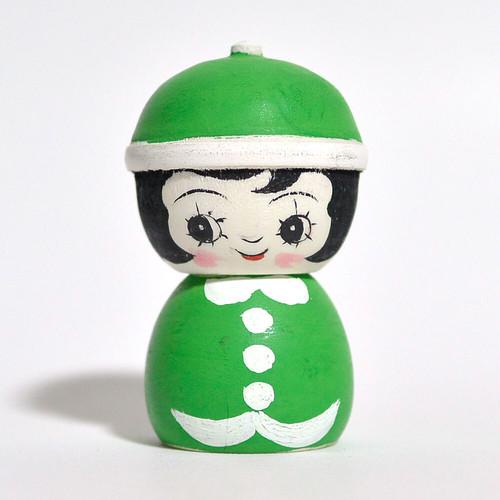 ギョロ目ちゃんこけし(クリスマスサンタ) 約2.5寸 約7.5cm 山谷レイ 工人(津軽系)#0242