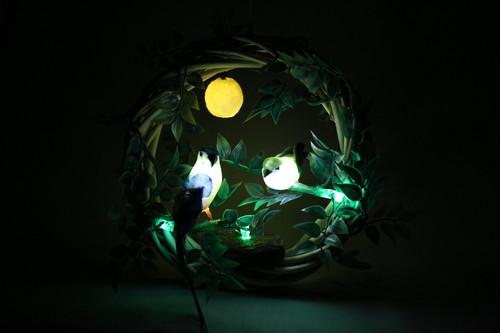 箱庭 リース LEDライト 鳥と月