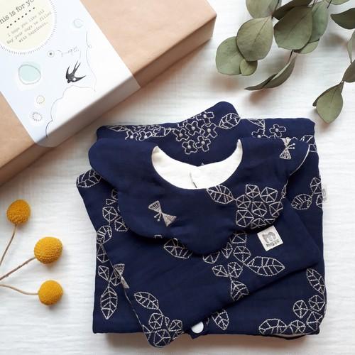 あじさい蝶々刺繍の出産祝いセット