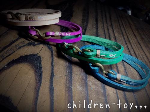 【children-toy,,, original craft】レザー 2連ブレスレット