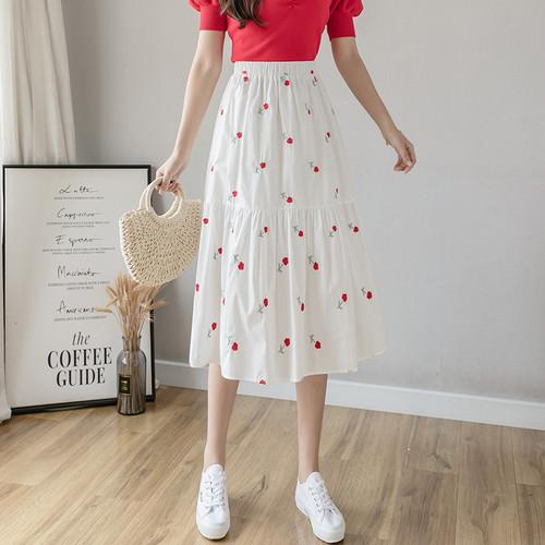 2色/フラワー刺繍ギャザースカート ・16684