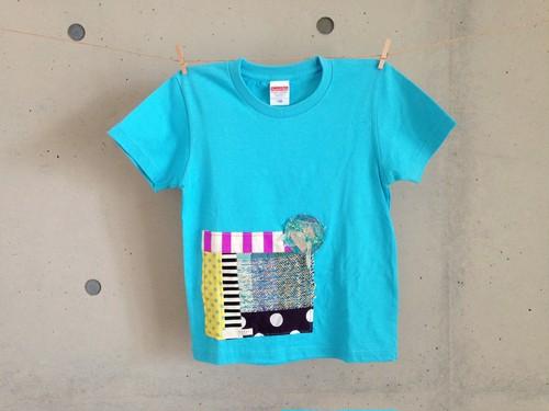 さをりTシャツ(130㎝・水色)