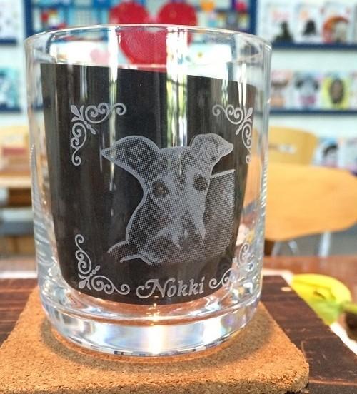 ペット写真彫刻グラス   商品ID:GF-0008                   化粧箱付き ギフト包装無料 送料別途(サイズ60)