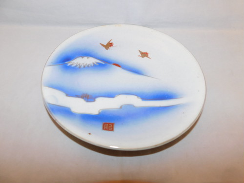 染付富士山皿 Blue &white porcelain plate(Mt Fuji)