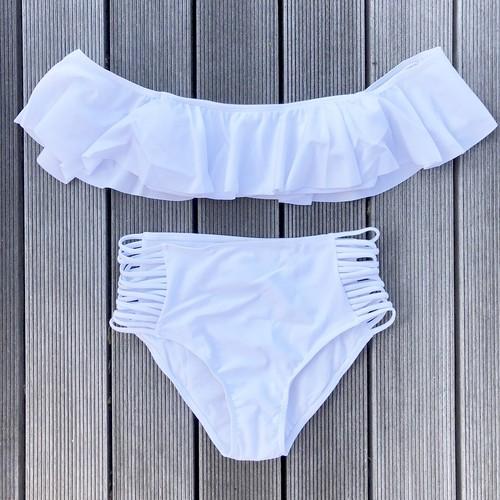 Bikini♡オフショルダーミドルウエストビキニ ホワイト GSB18S006WHT