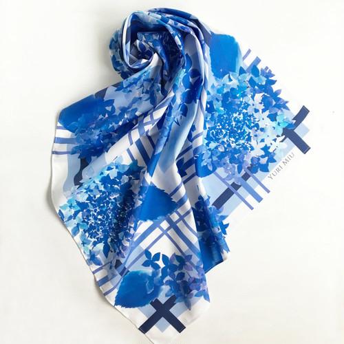 SALE ★ ミニスカーフ「Beautiful blue season| 紫陽花・ブルー」 ( コットン )