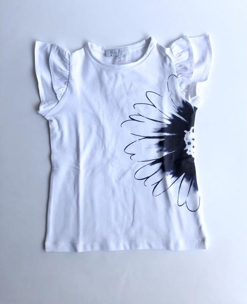 ELSY  フラワープリントTシャツ ホワイト 5才(110cm)~8才(130㎝) エルシー