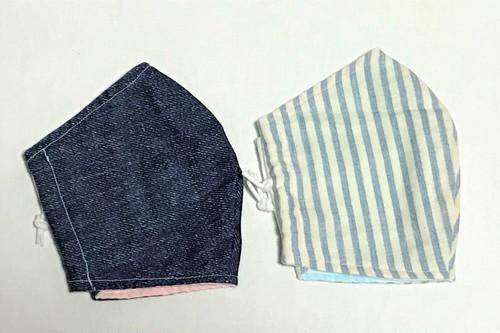 立体ガーゼマスク・LL サイズ2枚組(ノーマルタイプ)デニム・ストライプ